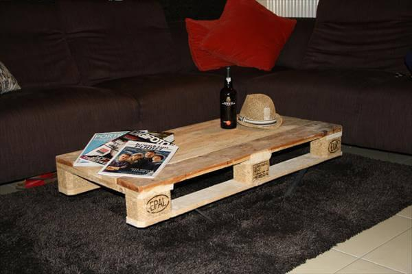 diy pallet coffee table with steel legs