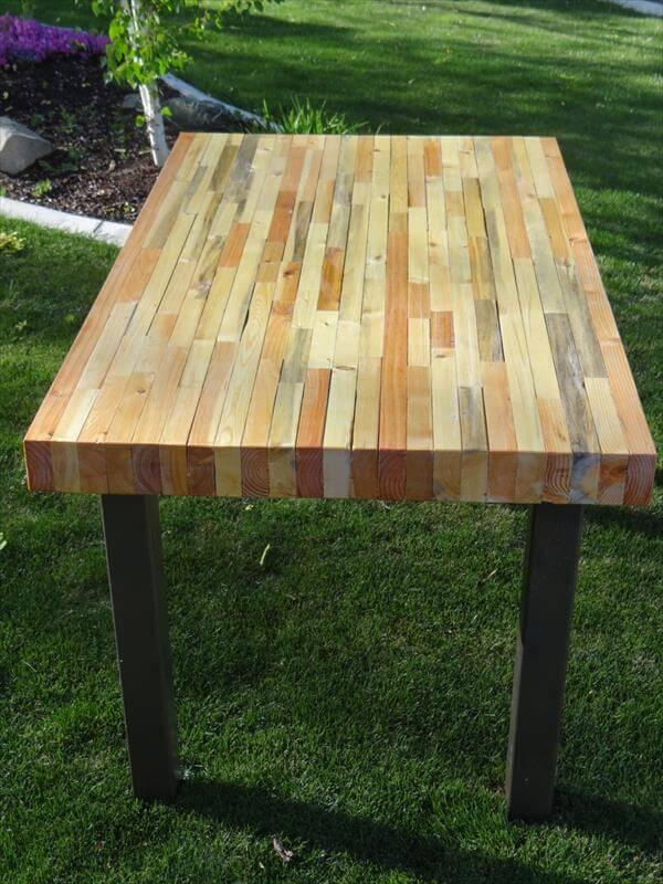 diy pallet table with thick beefy top