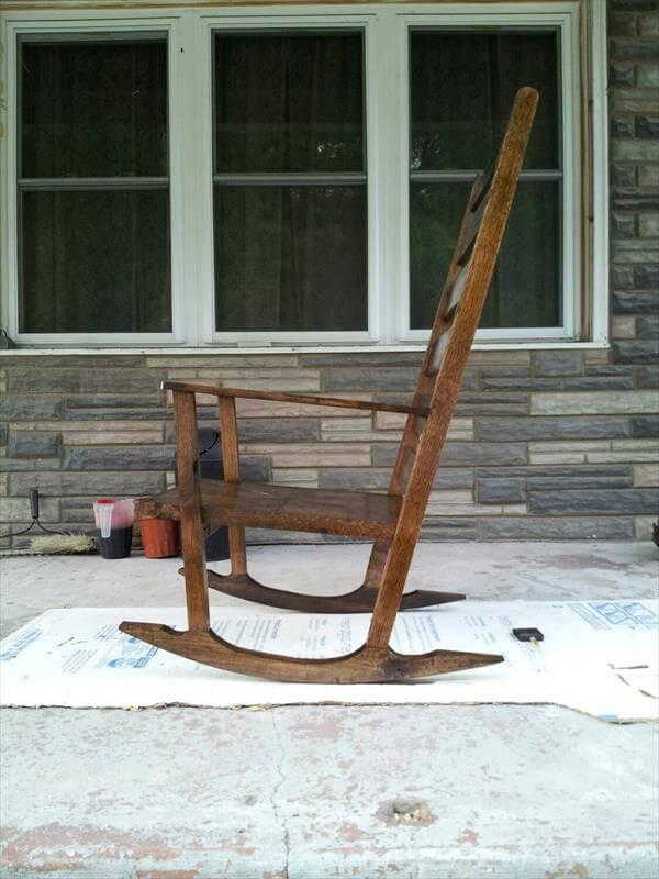 reclaimed pallet stained rocking chair