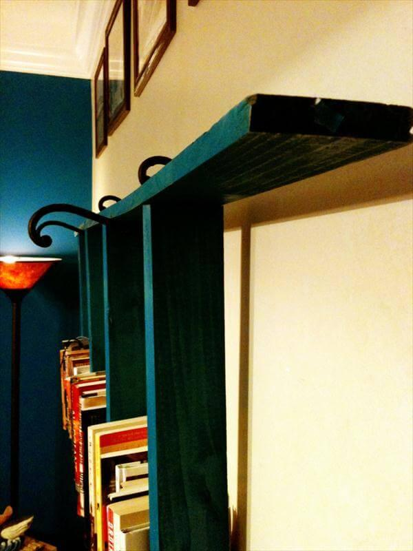 recycled pallet wood ladder wall bookshelf