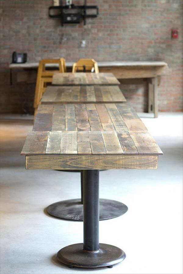 Repurposed Pallet And Single Metal Leg Tables