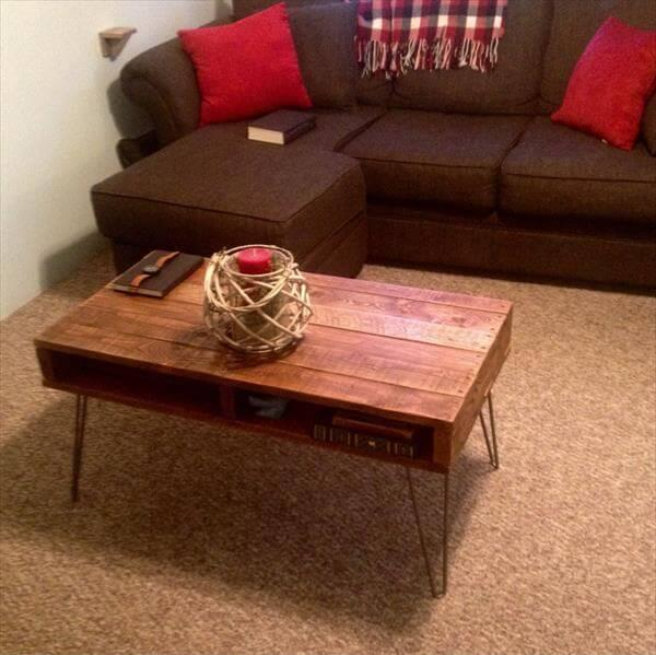 diy pallet coffee table and media stand
