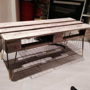 reclaimed pallet coffee table and media stand