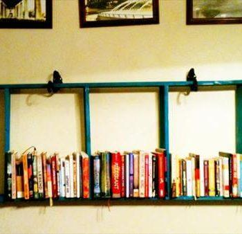 repurposed pallet hanging ladder wall bookshelf