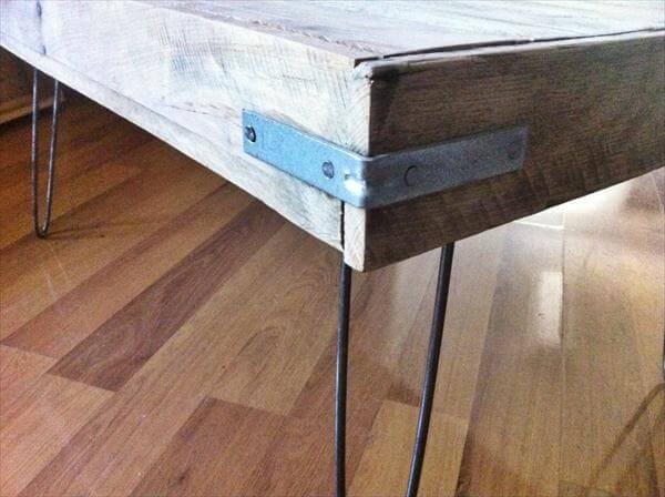 upcycled pallet coffee table with hairpin metal legs