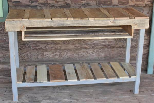 Diy Distressed Pallet Console Table 101 Pallets