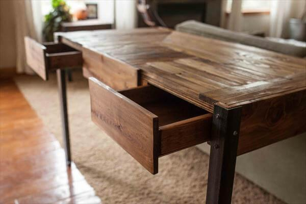 reclaimed pallet desk with metal legs and storage drawers