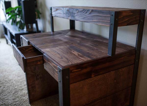 recycled pallet metal desk with side panels