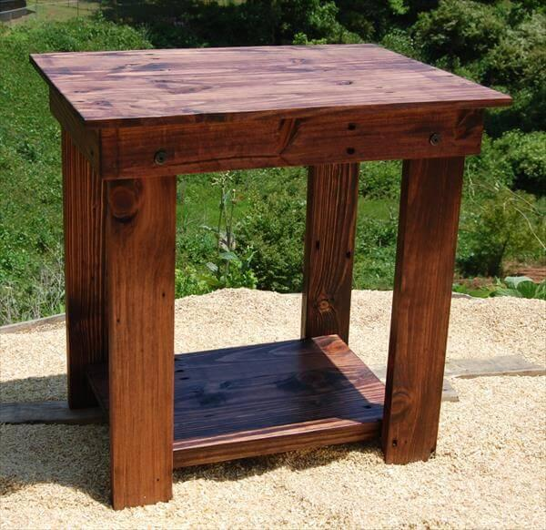 handcrafted pallet side table and bedside table