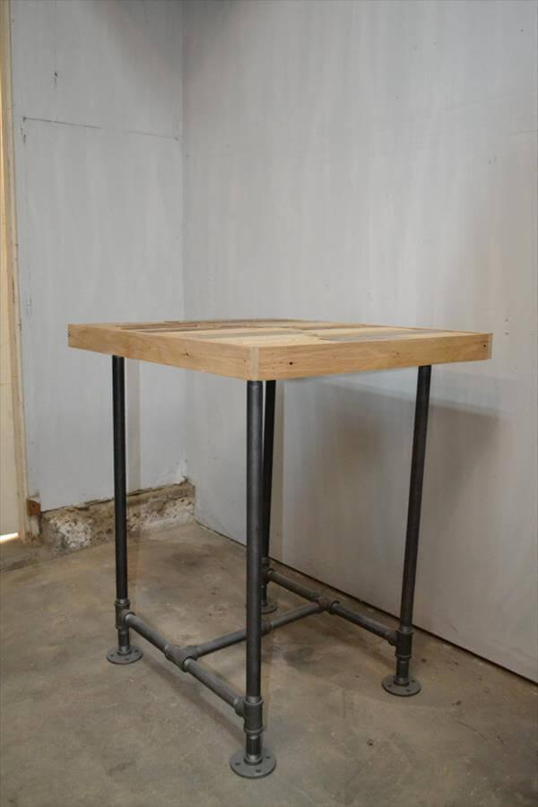 diy pallet iron pipe. Upcycled Pallet Side Table With Metal Pipe Base Diy Iron A