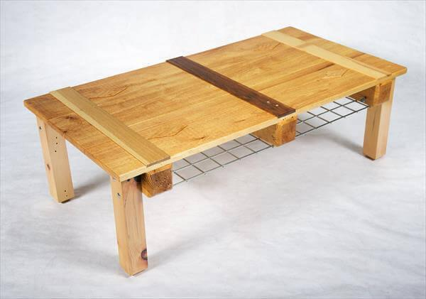 recycled pallet and crate wood coffee table with magazine rack