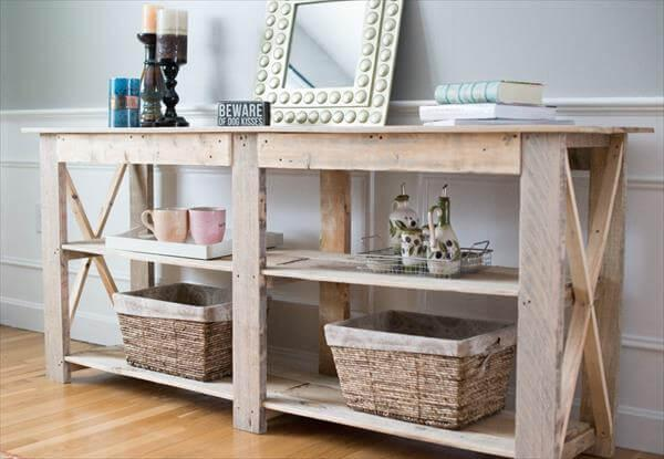 Recycled Pallet Buffet And Sofa Side Table