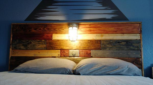 Diy Pallet Headboard With Light Fixture 101 Pallets