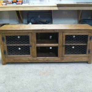 reclaimed pallet media cabinet and TV stand