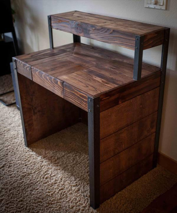 Reclaimed Pallet And Metal Tiered Desk With Side Panels