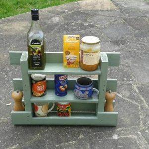 repurposed pallet kitchen spice rack