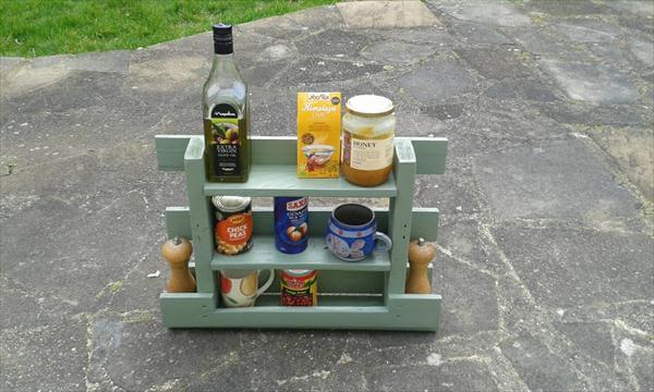 repurposed pallet kitchen spice rack