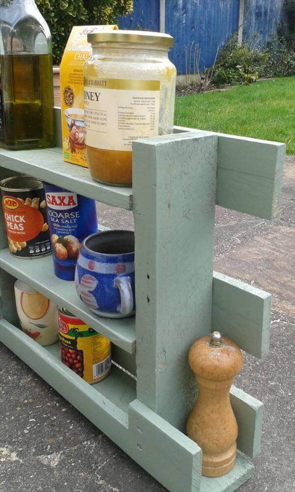 reclaimed pallet painted kitchen spices rack