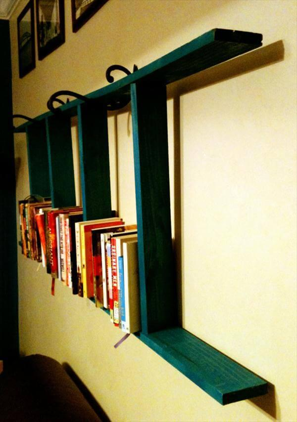 handmade pallet wall ladder bookshelf