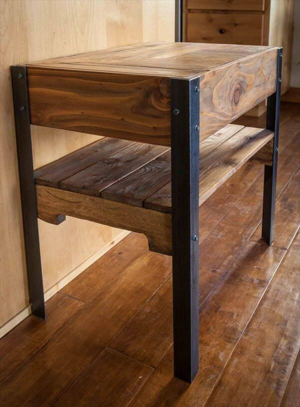 Recycled Pallet Side Table With Shelf