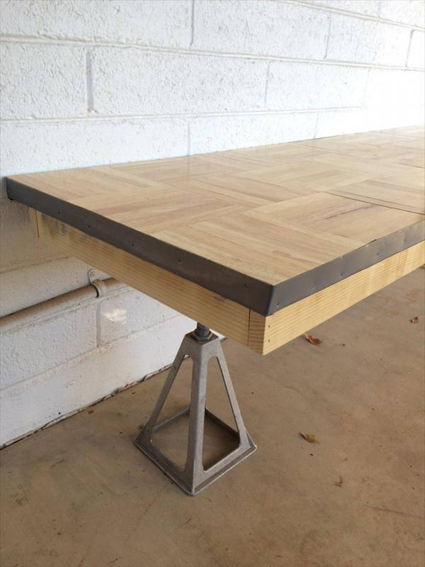 reclaimed pallet industrial table and bench