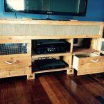 handcrafted pallet media console and coffee table