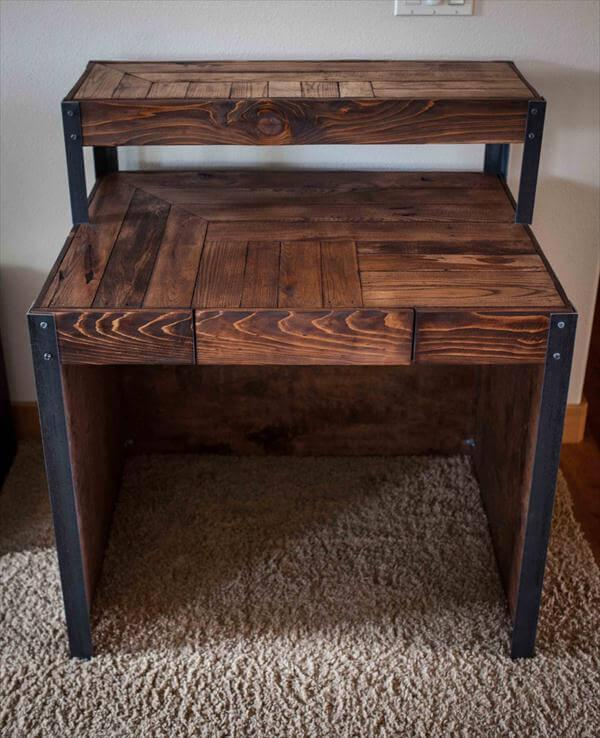 upcycled pallet metal desk with side panels