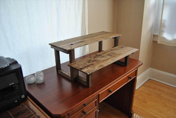 reclaimed pallet standing computer desk