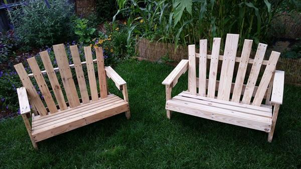 repurposed pallet adirondack benches