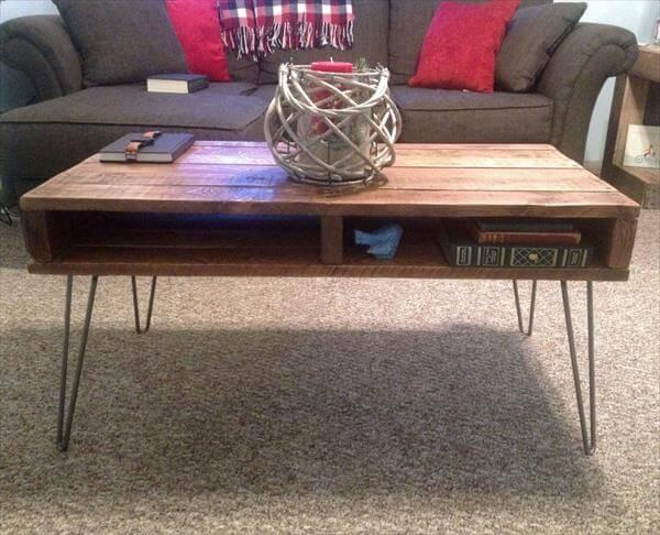 handmade pallet coffee table and TV stand
