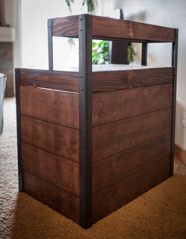 diy pallet metal tiered desk with side panels