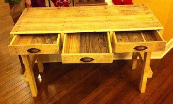 diy pallet wood desk with touch to open drawers