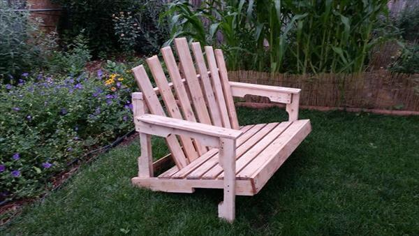 handcrafted pallet adirondack bench