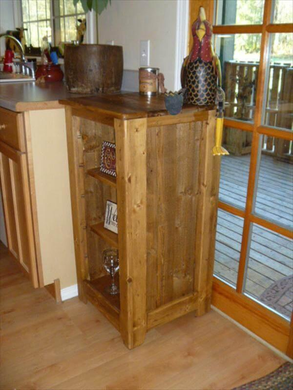 recycled pallet bookcase and floor cabinet