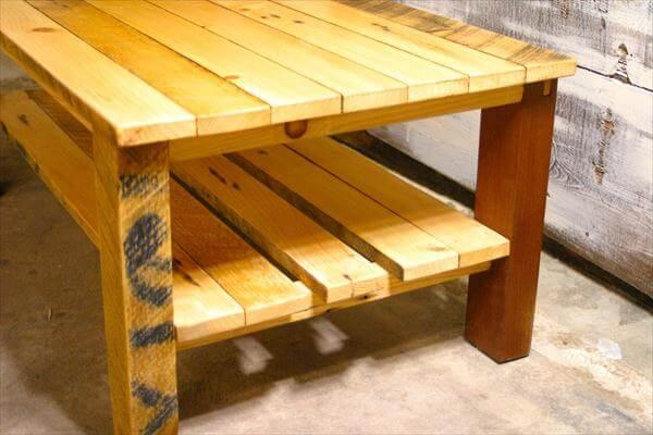 recycled pallet and sapele wood coffee table