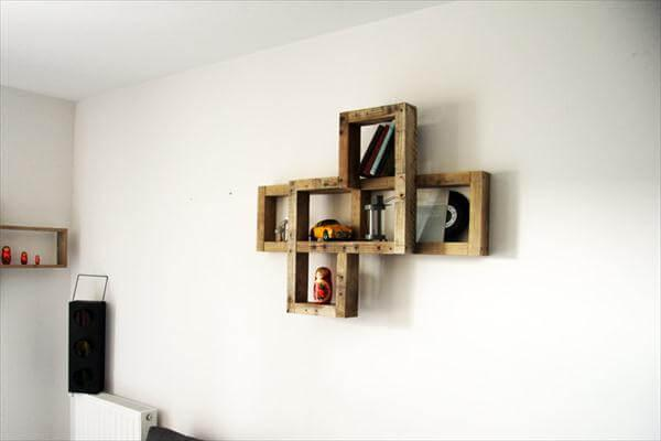 creative pallet art style wall shelf
