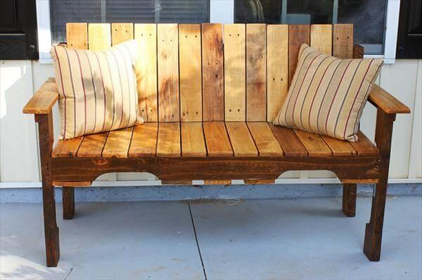 Diy Pallet Farmhouse Bench Front Porch Bench 101 Pallets
