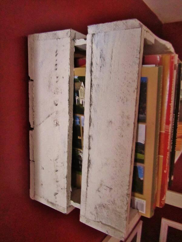 recycled pallet floating wall shelf