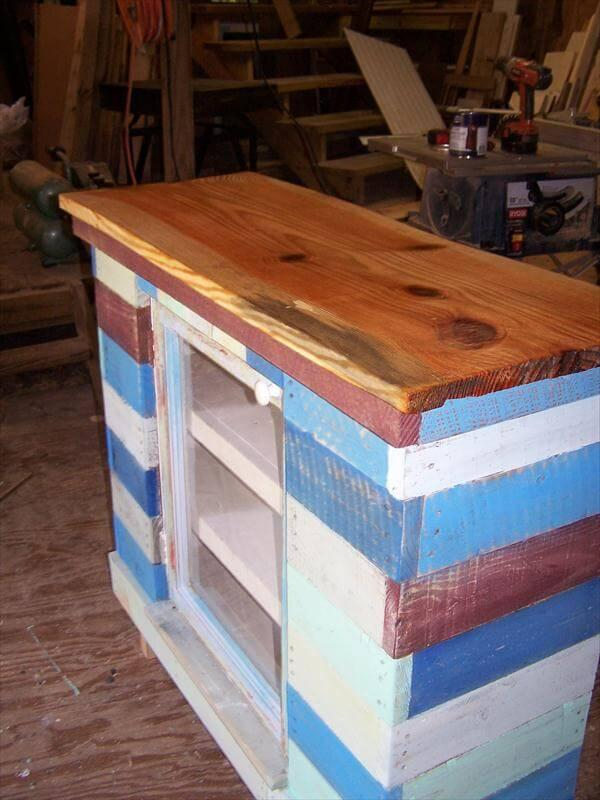 recycled pallet distressed cabinet