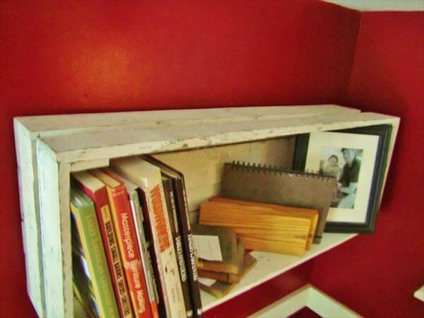 rustic pallet white wall shelf