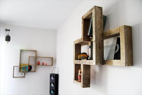 diy floating pallet art style wall shelf