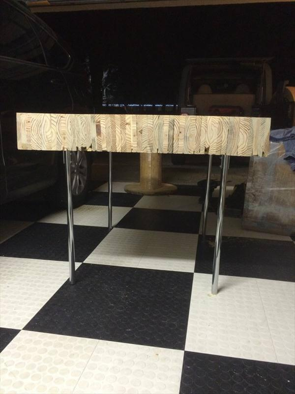 sturdy pallet coffee table with steel chrome legs