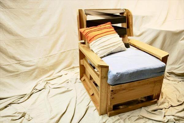 recycled pallet industrial armchair