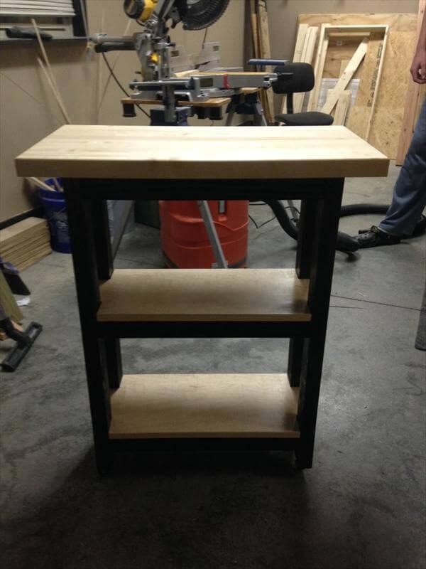 recycled pallet kitchen island and nightstand
