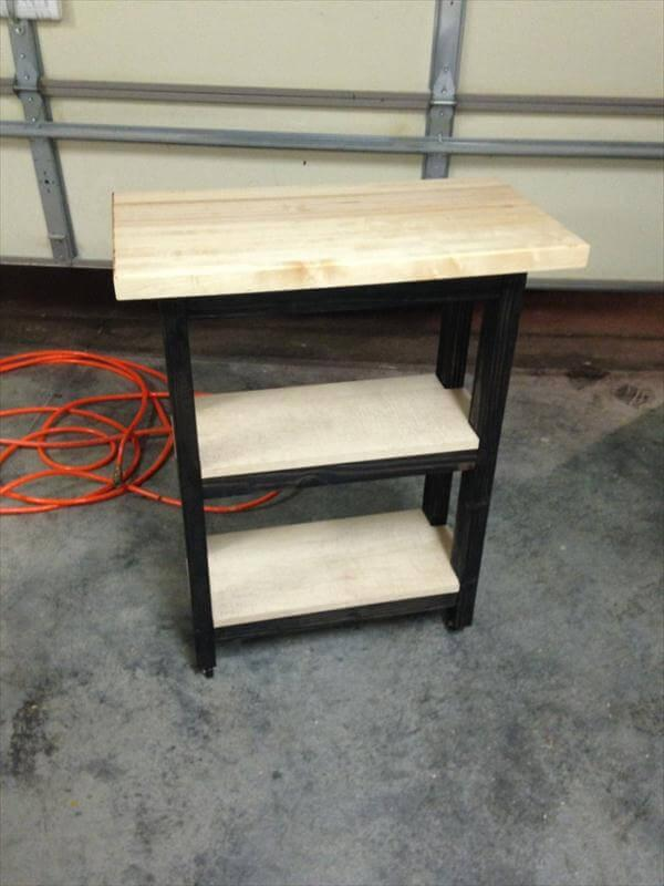 upcycled pallet kitchen island and side table
