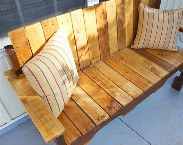 reclaimed pallet porch bench