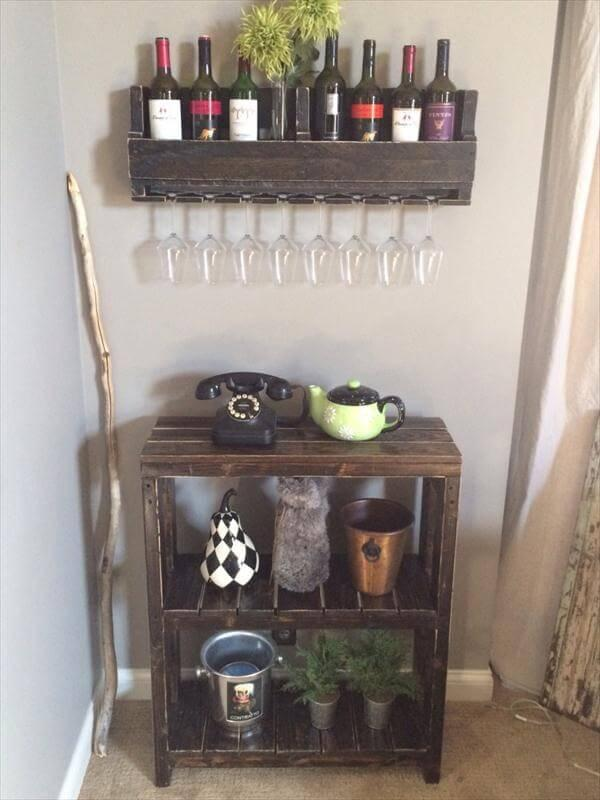 reclaimed pallet wood storage unit and bookcase