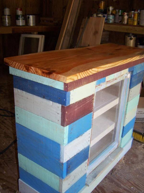 upcycled pallet distressed cabinet