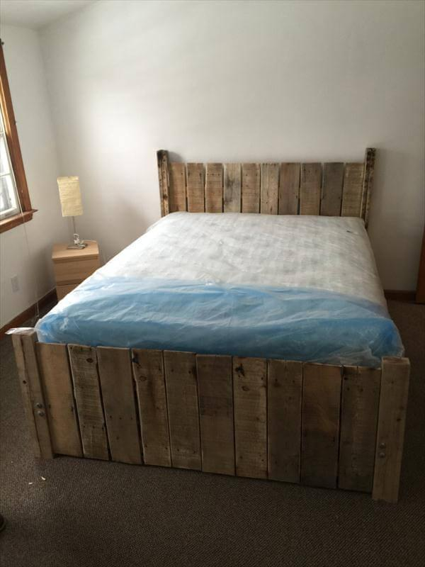 DIY Custom-Built Pallet Platform Bed – 101 Pallets