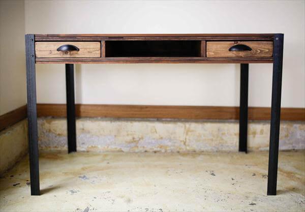 salvaged pallet desk with storage drawers